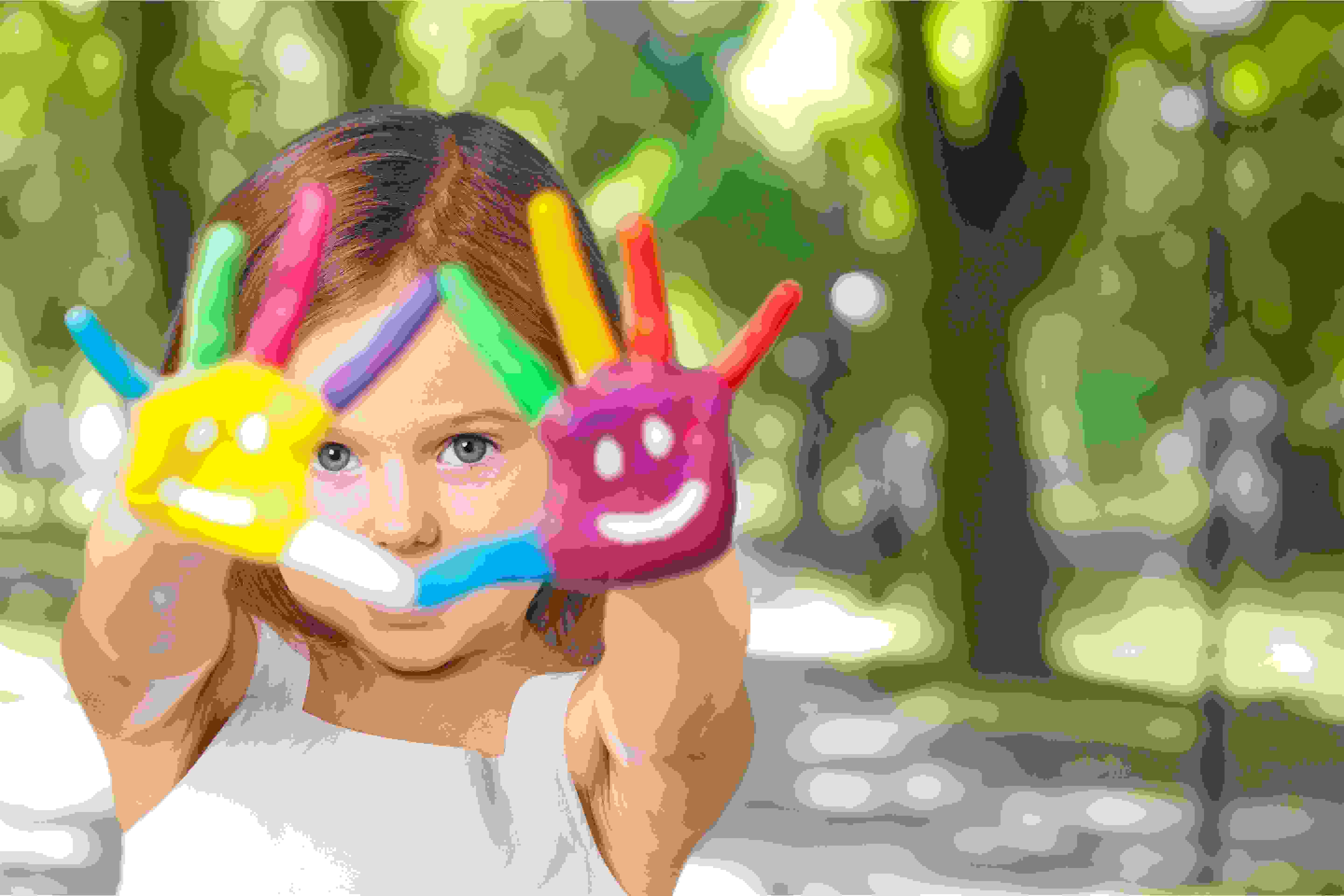 kid painted hands